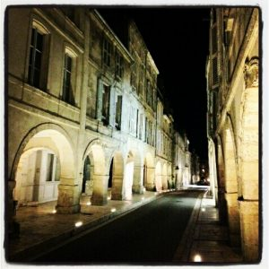 Street at night La Rochelle France