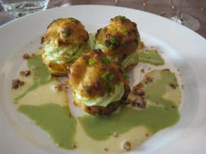 Restaurants in France pistachio dessert