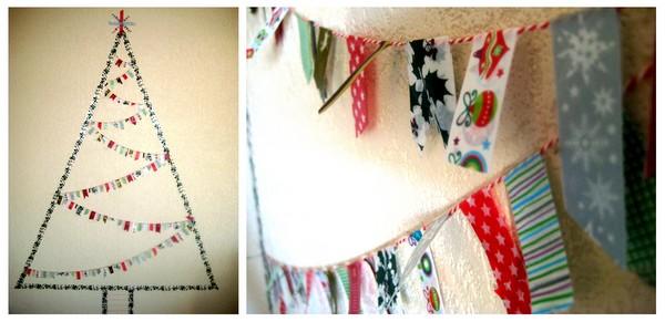 Washi tape Christmas tree & washi tape garland