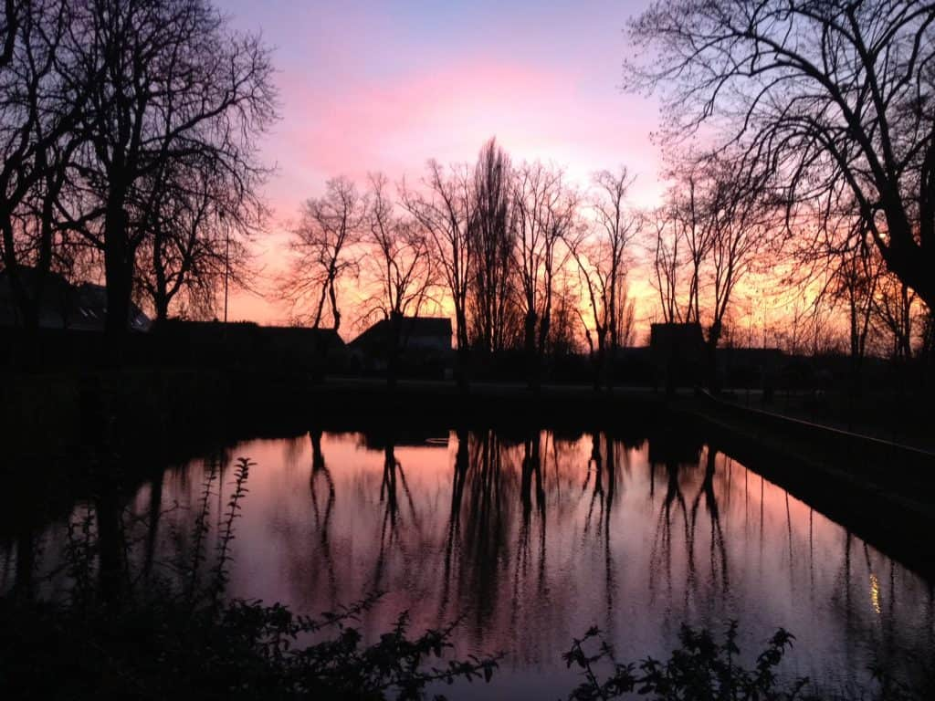 Christmas Eve reflection sunset