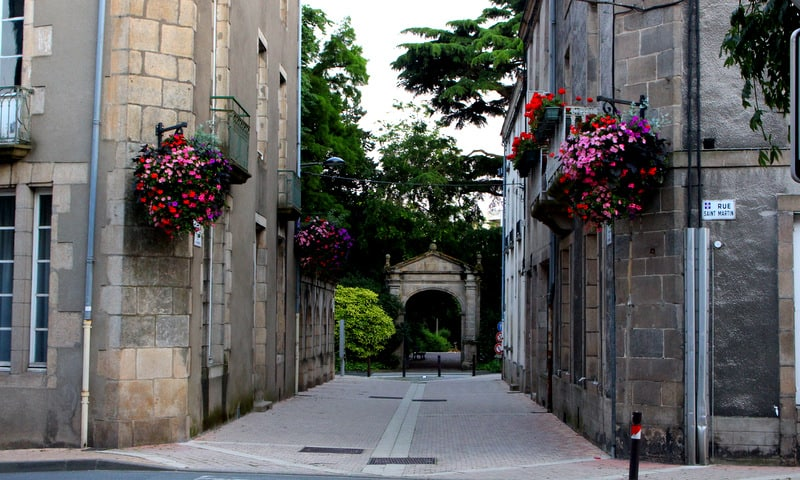 Town center with flowers