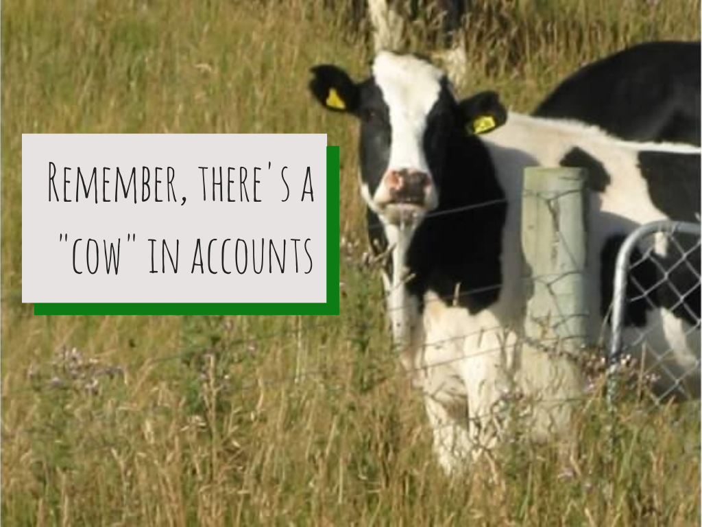 Remember, there's a _cow_ in accounts
