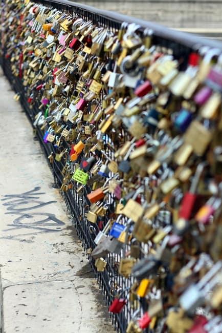locks on paris bridge pont des arts
