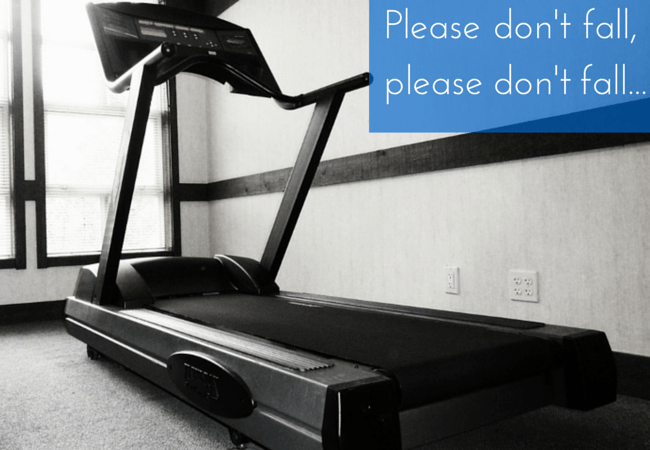 exercise embarrassment falling on treadmill