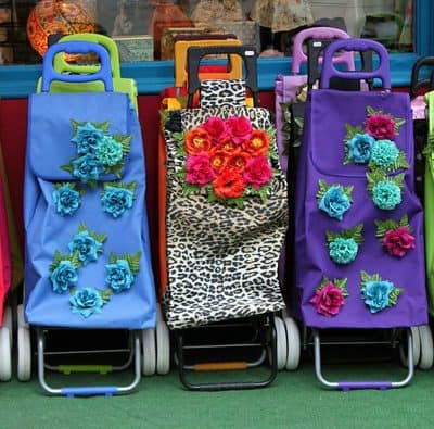 Shopping cart bags on wheels: Old lady granny cart style or chic?