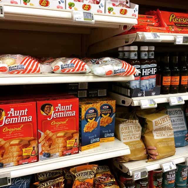 american products in french grocery store