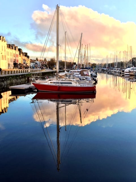 vannes harbor boat reflection francevannes harbor boat reflection france