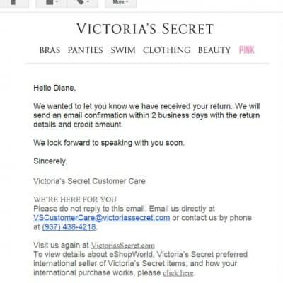 My experience with international shipping and Victoria's Secret