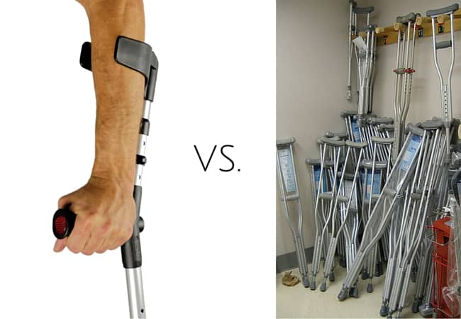 french versus american crutches