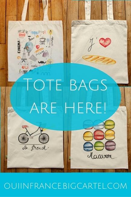 francophile tote bags