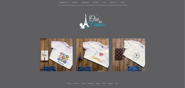 francophile shop oui in france tshirts