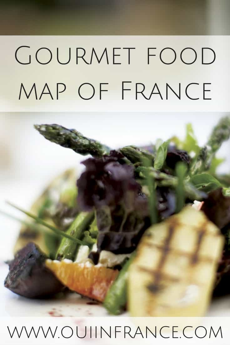 Gourmet food map of France