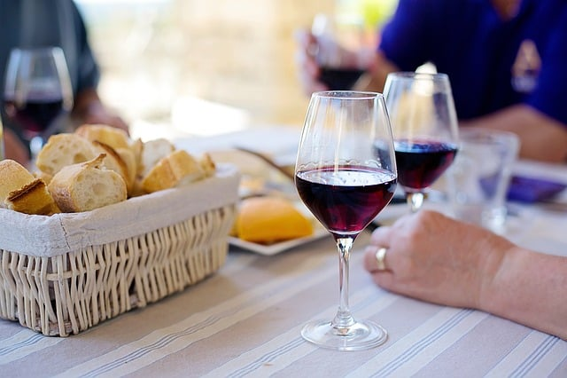 red wine french table lunch