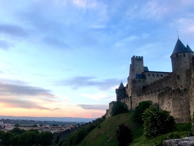 carcassonne medieval city sunset