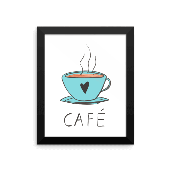 cafe blue wall art
