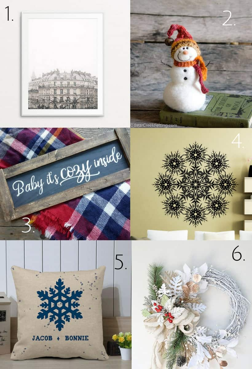 winter home decor etsy