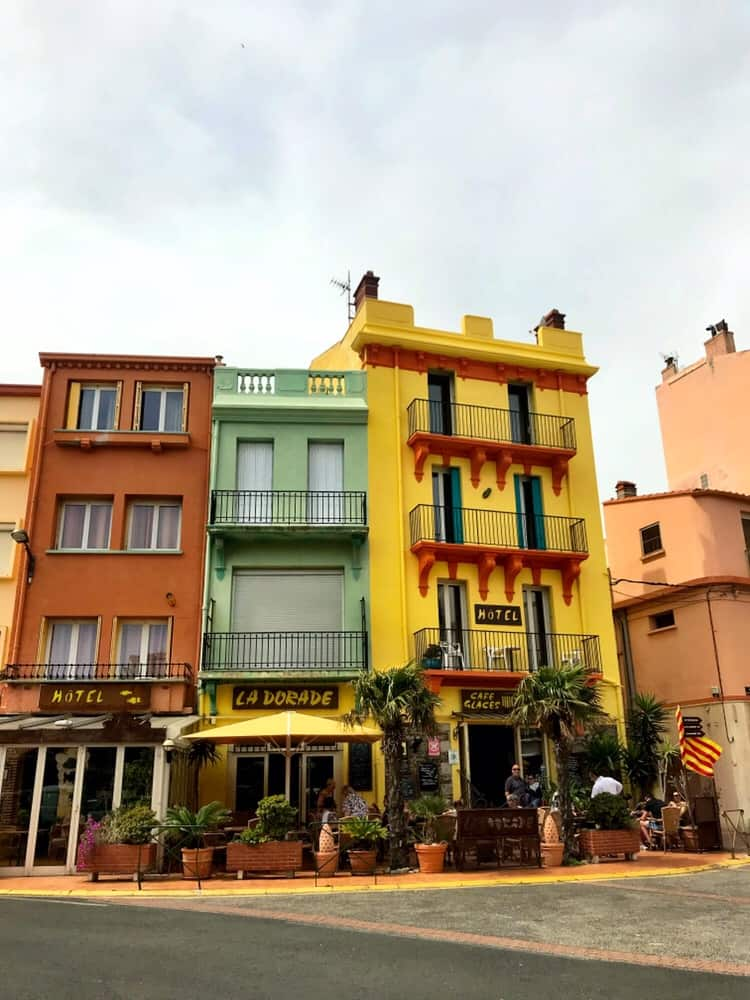 Some colorful buildings facing the sea in Cerbère, France