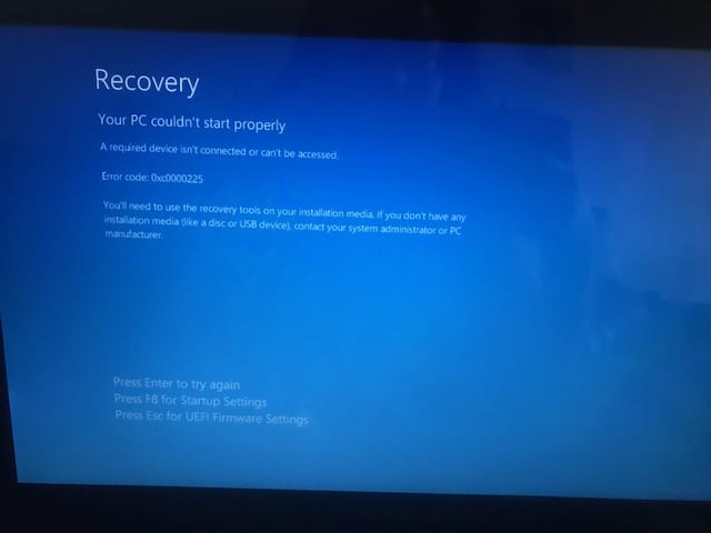 windows system recovery error