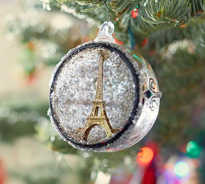 Glass Orb Paris Christmas Ornament