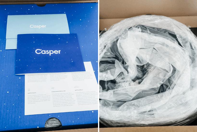 casper mattress review inside box