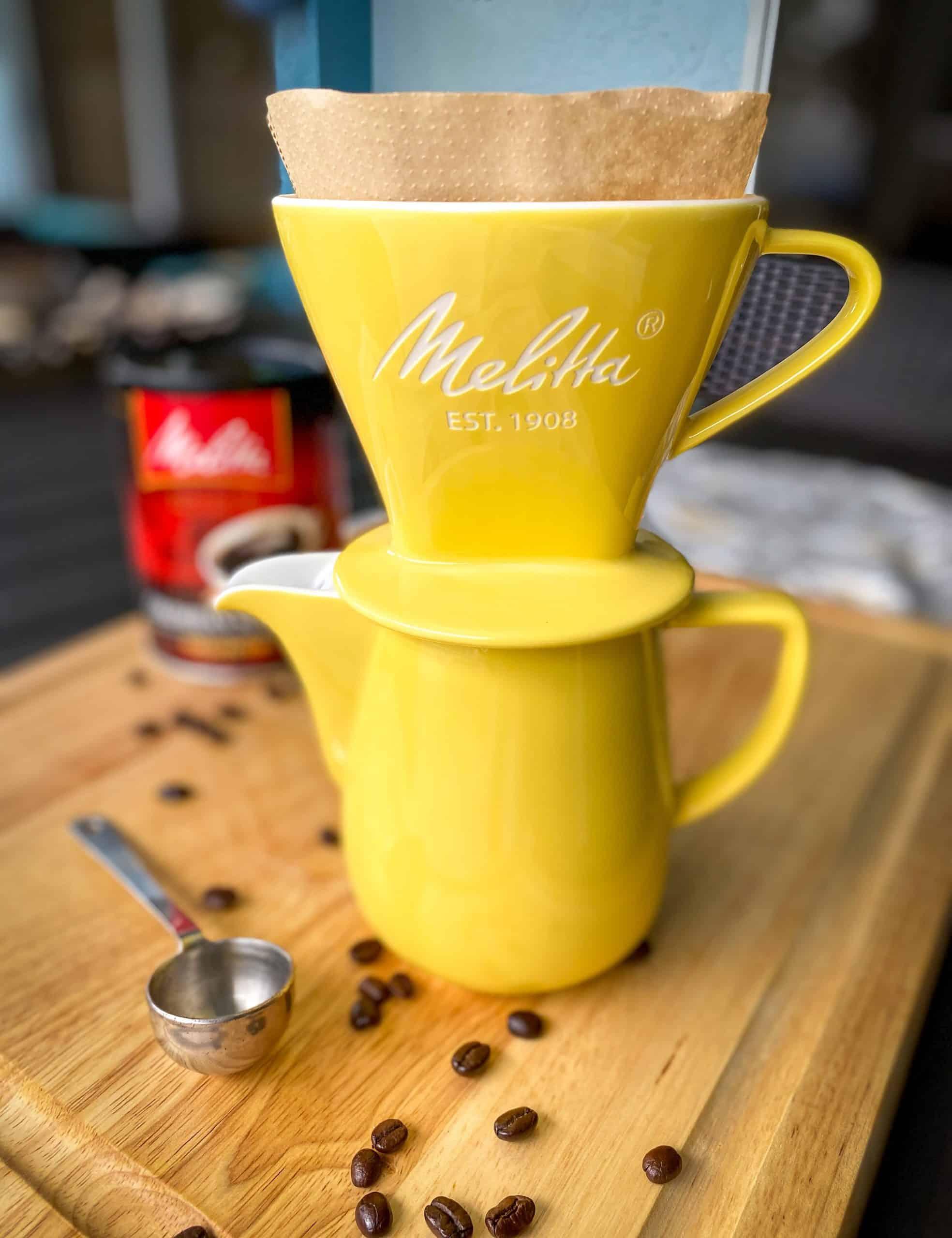 melitta pour over coffee pot yellow