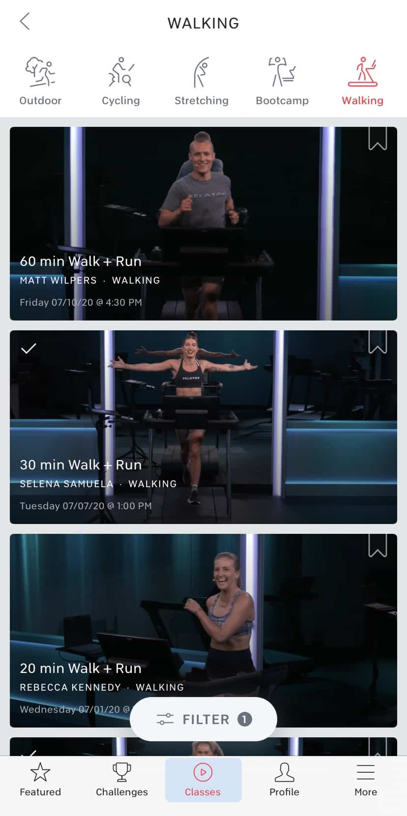 peloton walk plus run classes