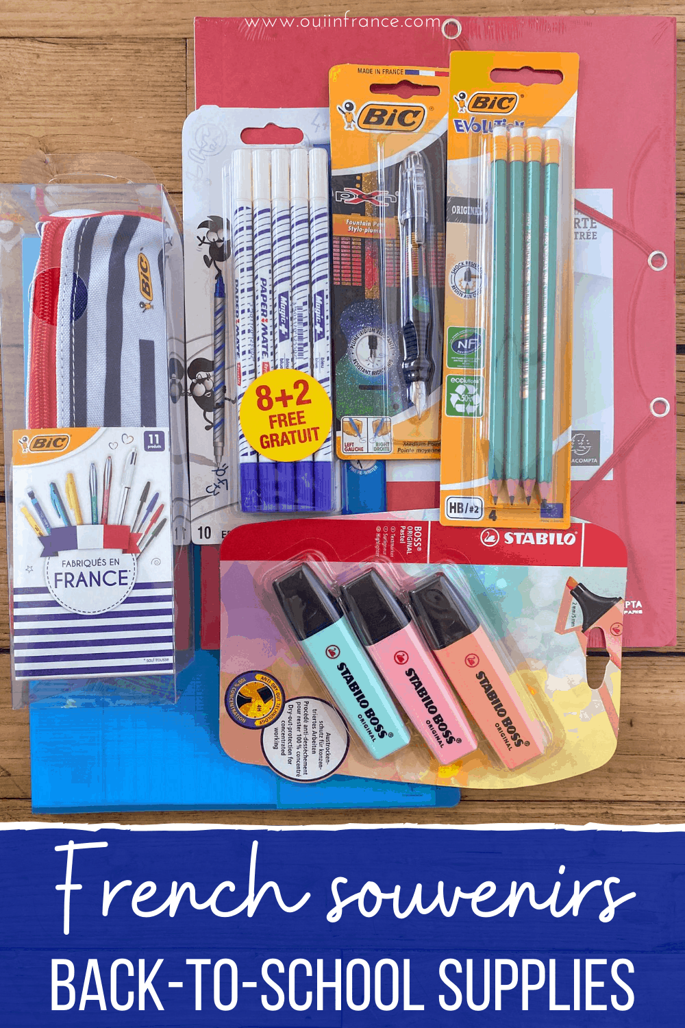 French souvenirs school supplies france