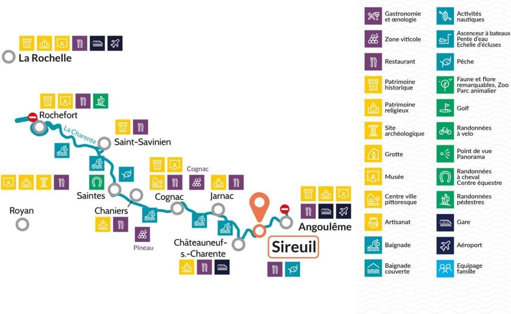 map of charente river cruise